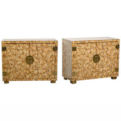 Pair of Vintage Henredon Faux Tortoiseshell Cabinets