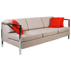Milo Baughman Style Chrome-Armed Sofa
