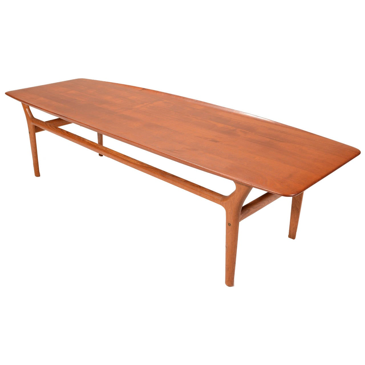 Solid teak and oak coffee table by kurt stervig for jason m belfabrik for sale at 1stdibs Solid teak coffee table