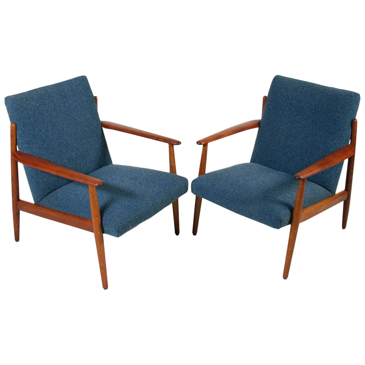 Wonderful Matching Danish Modern Chairs In Teak By Komfort In The Style Of Grete Jalk  1