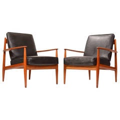 Early Grete Jalk Teak Lounge Chairs with Banding Backs and Seats