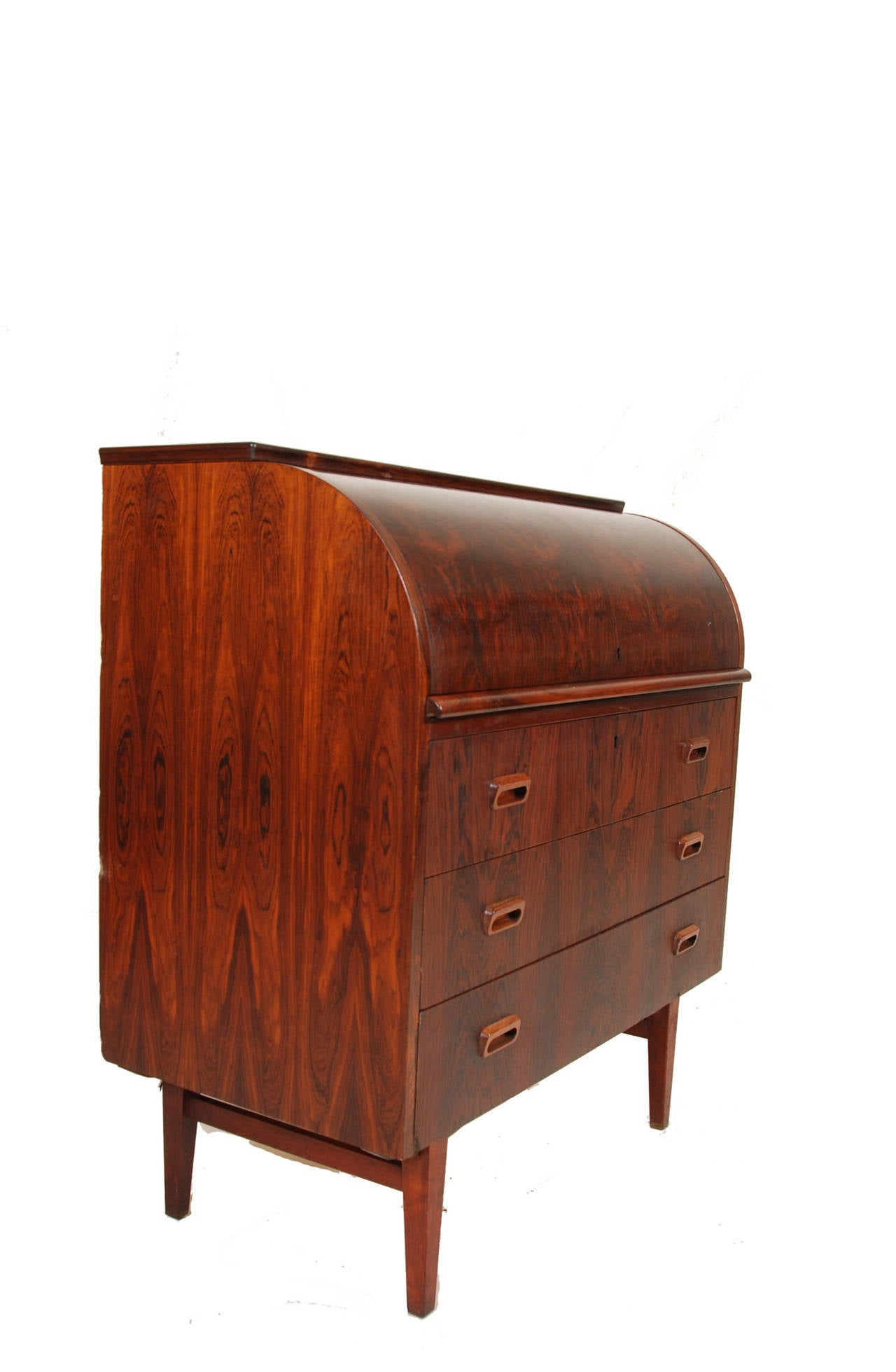 Signed Swedish Rosewood Roll Top Desk at 1stdibs