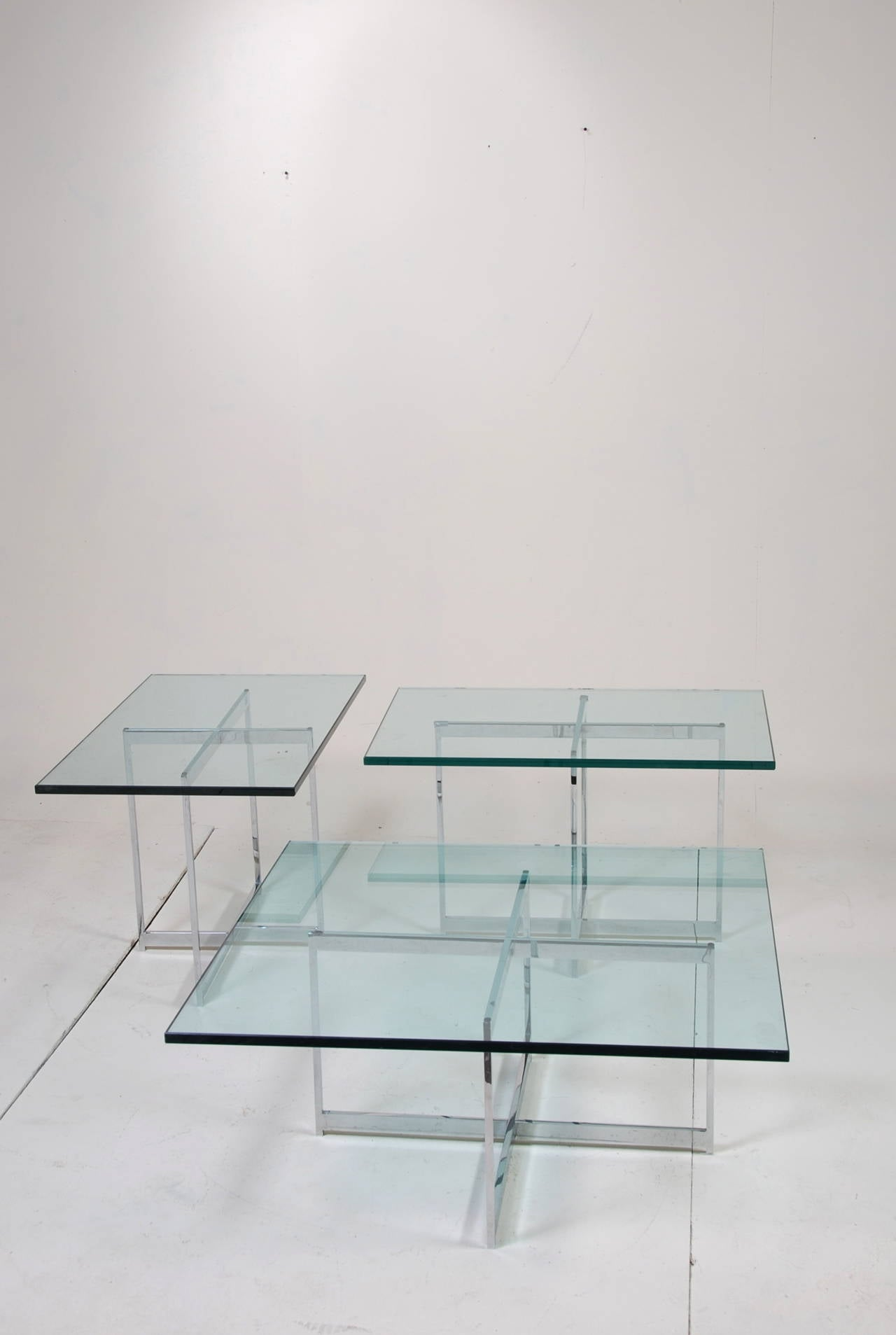 mies van der rohe style stainless steel glass table set for sale  - mies van der rohe style stainless steel glass table set