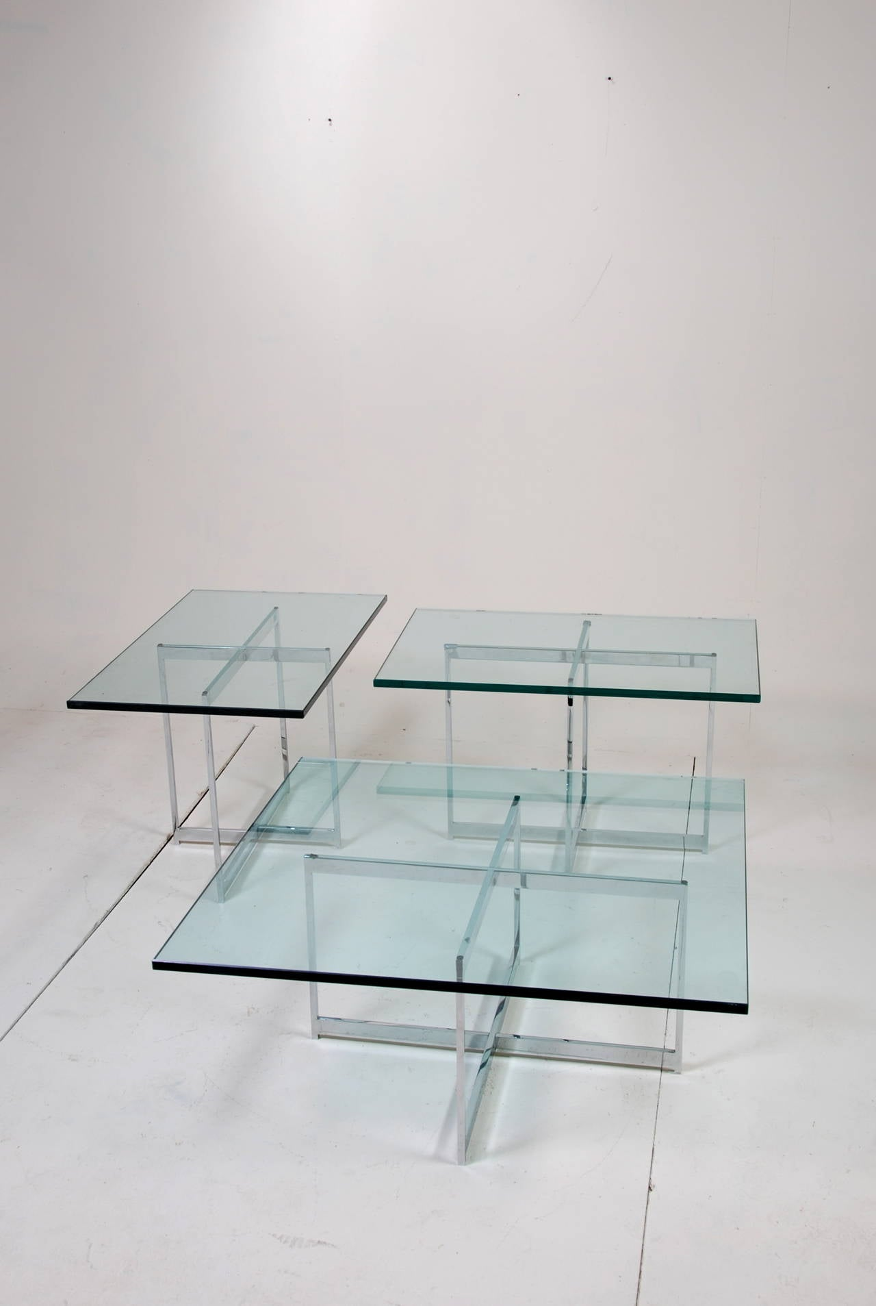 Mies van der Rohe Style Stainless Steel Glass Table Set For Sale