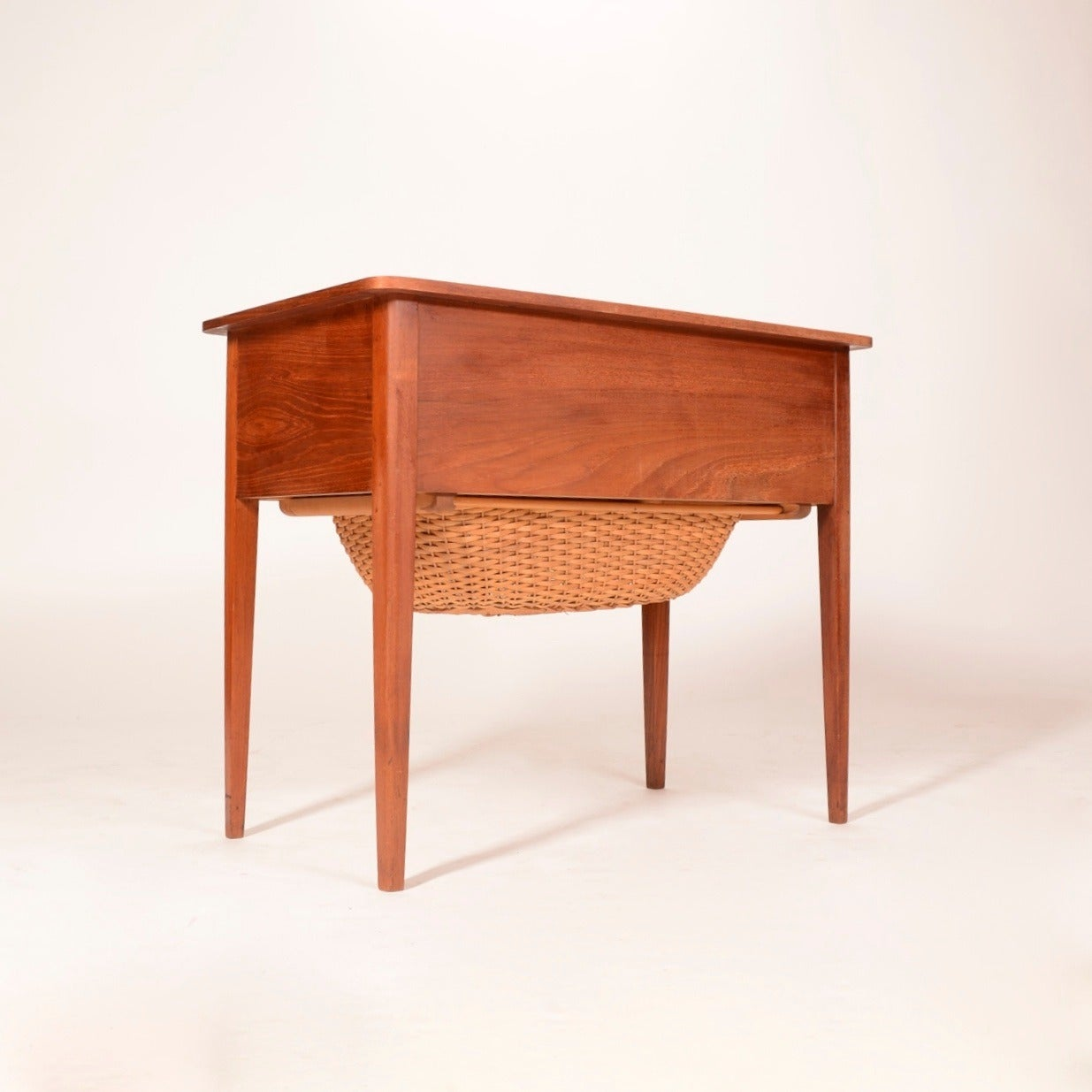 Danish Modern Sewing Cabinet and Table with Basket For