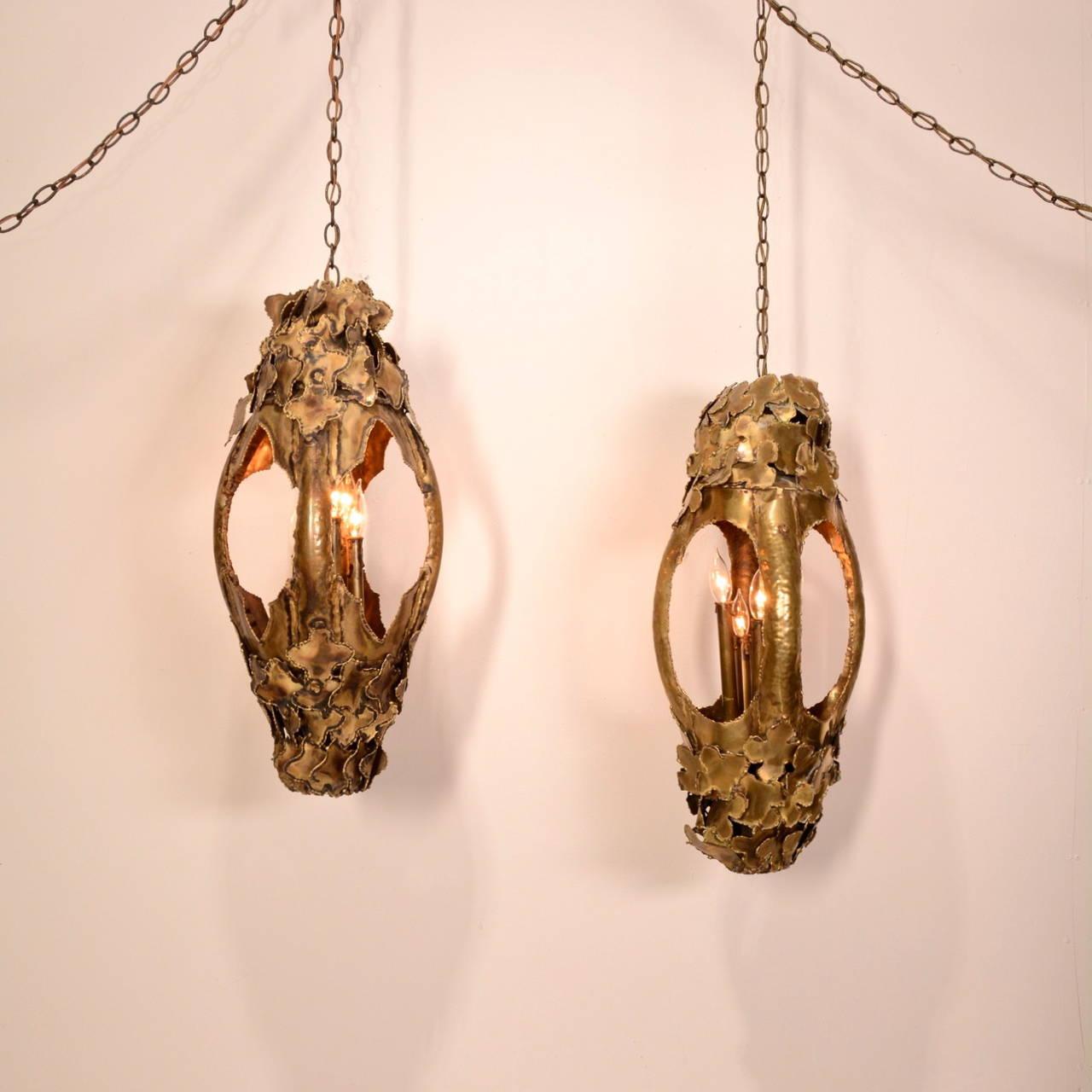 American Tom Greene for Feldman Pendant Brutalist Lantern Torch-Cut Brass For Sale