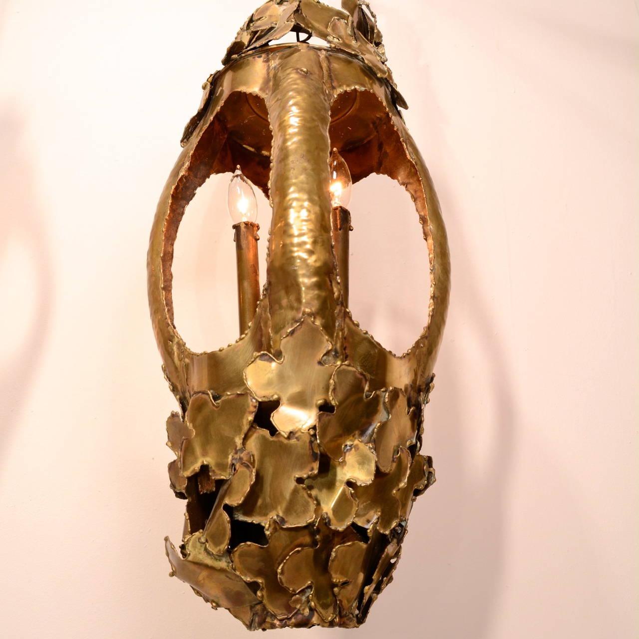 Mid-20th Century Tom Greene for Feldman Pendant Brutalist Lantern Torch-Cut Brass For Sale