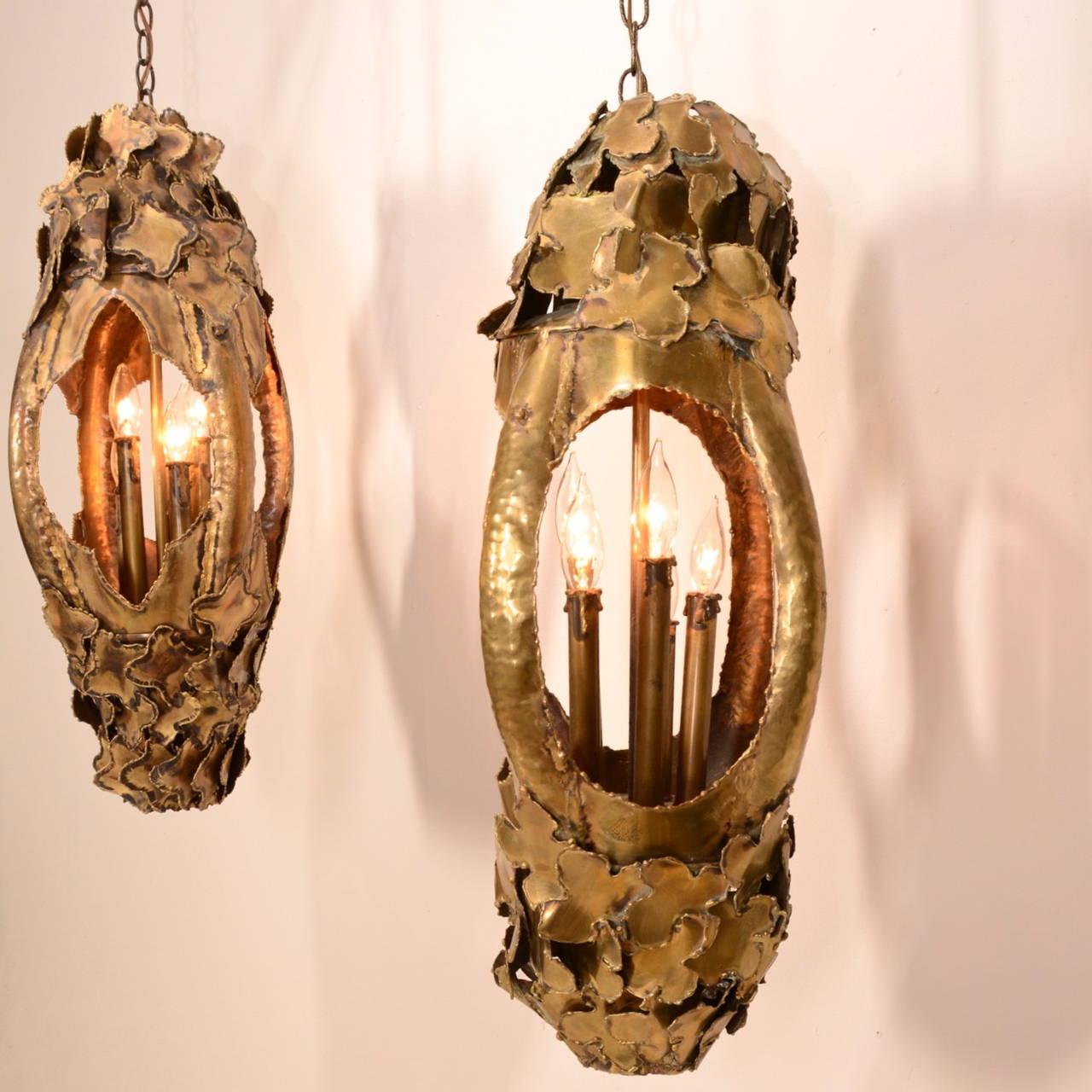 Tom Greene for Feldman Pendant Brutalist Lantern Torch-Cut Brass For Sale 4