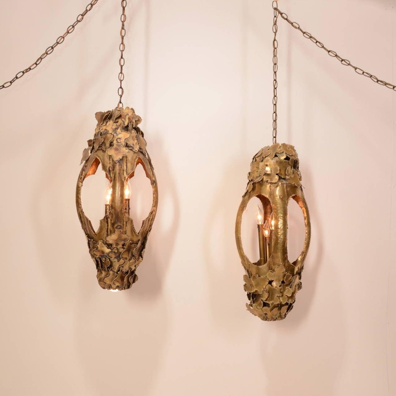 Tom Greene for Feldman Pendant Brutalist Lantern Torch-Cut Brass For Sale 3