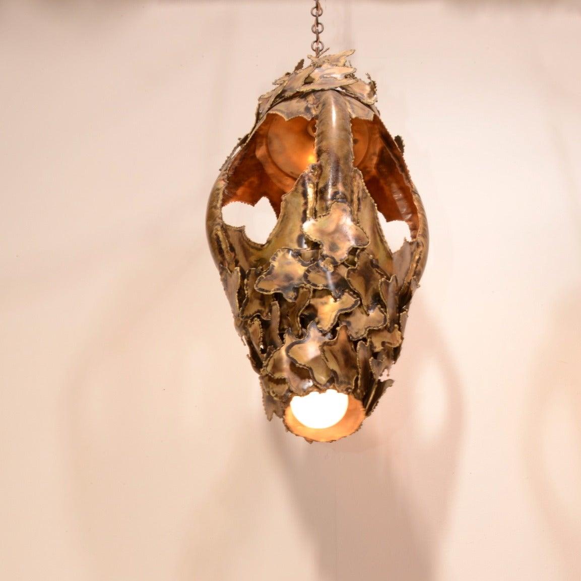 Tom Greene for Feldman Pendant Brutalist Lantern Torch-Cut Brass For Sale 2