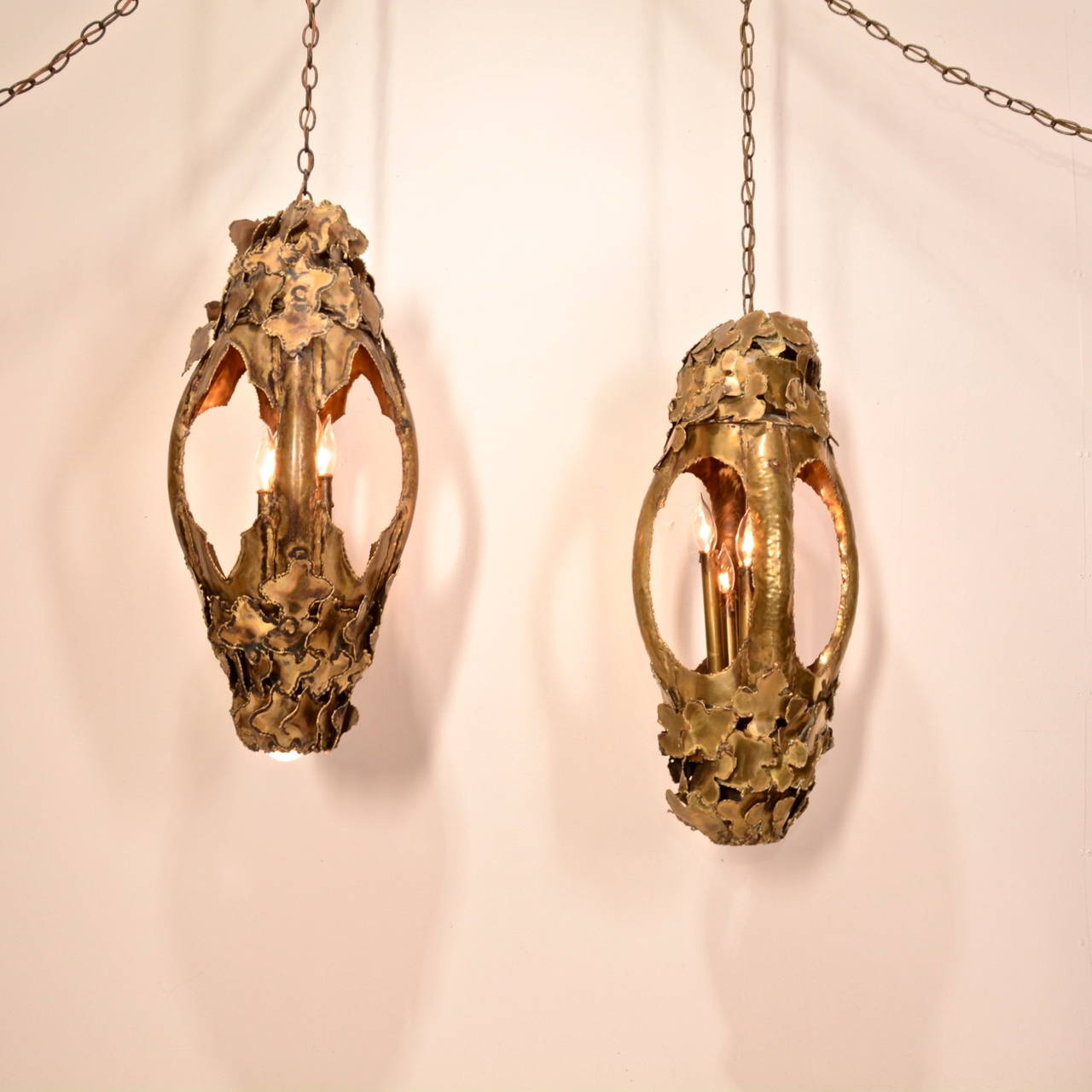 Tom Greene for Feldman Pendant Brutalist Lantern Torch-Cut Brass For Sale 5