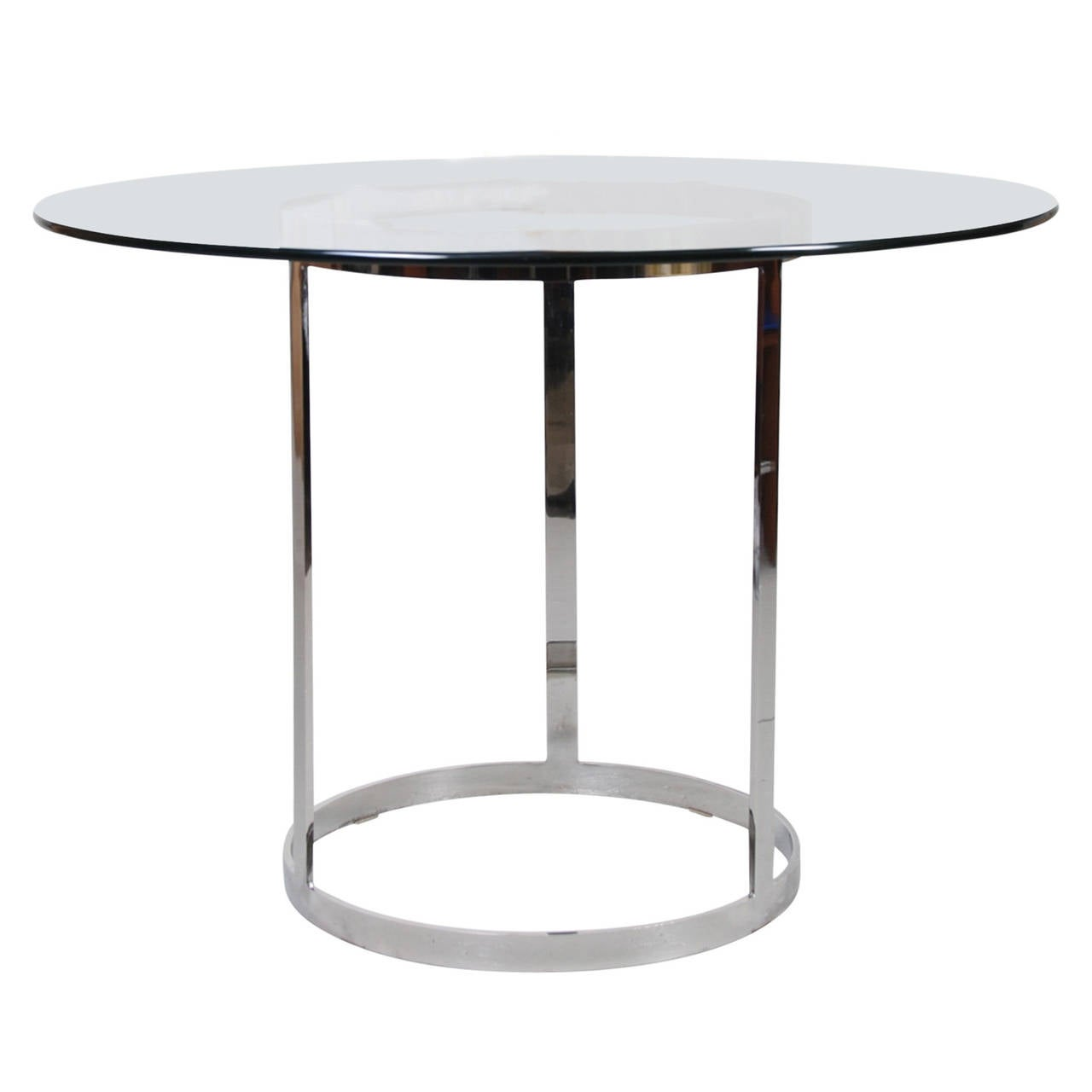 Milo baughman round glass and chrome dining table at 1stdibs for Round glass dining table
