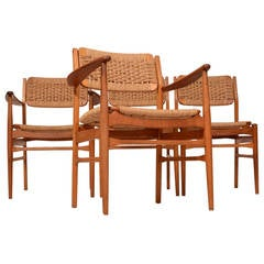 Four Dining Chairs in Teak and Oak by Torben Strandgaard
