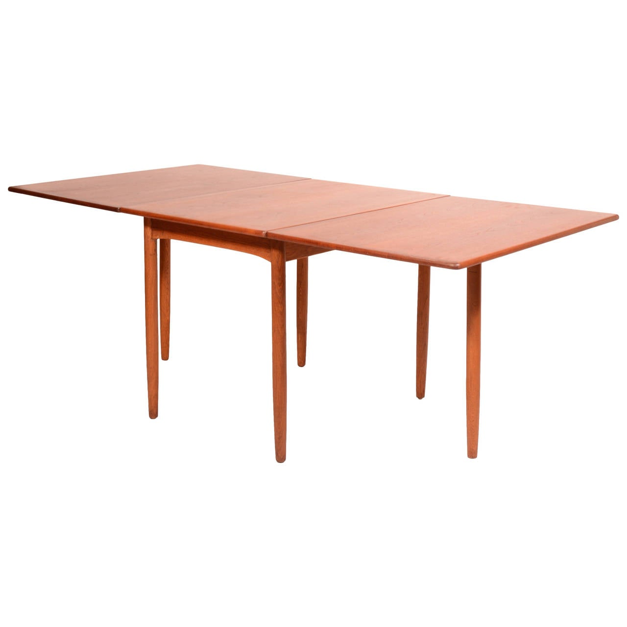 Mid century danish modern drop leaf dining table by hans c for Dining room table replacement leaf