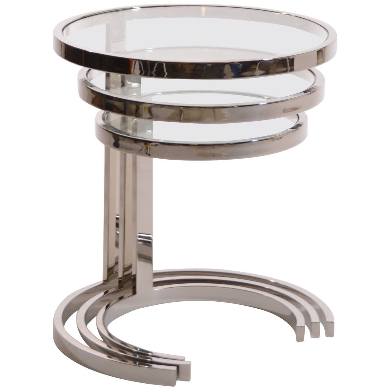 Glass Nesting Tables ~ Set of nesting stainless steel and glass tables