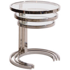 Set of 3 Nesting Stainless Steel and Glass Nesting Tables by Brueton