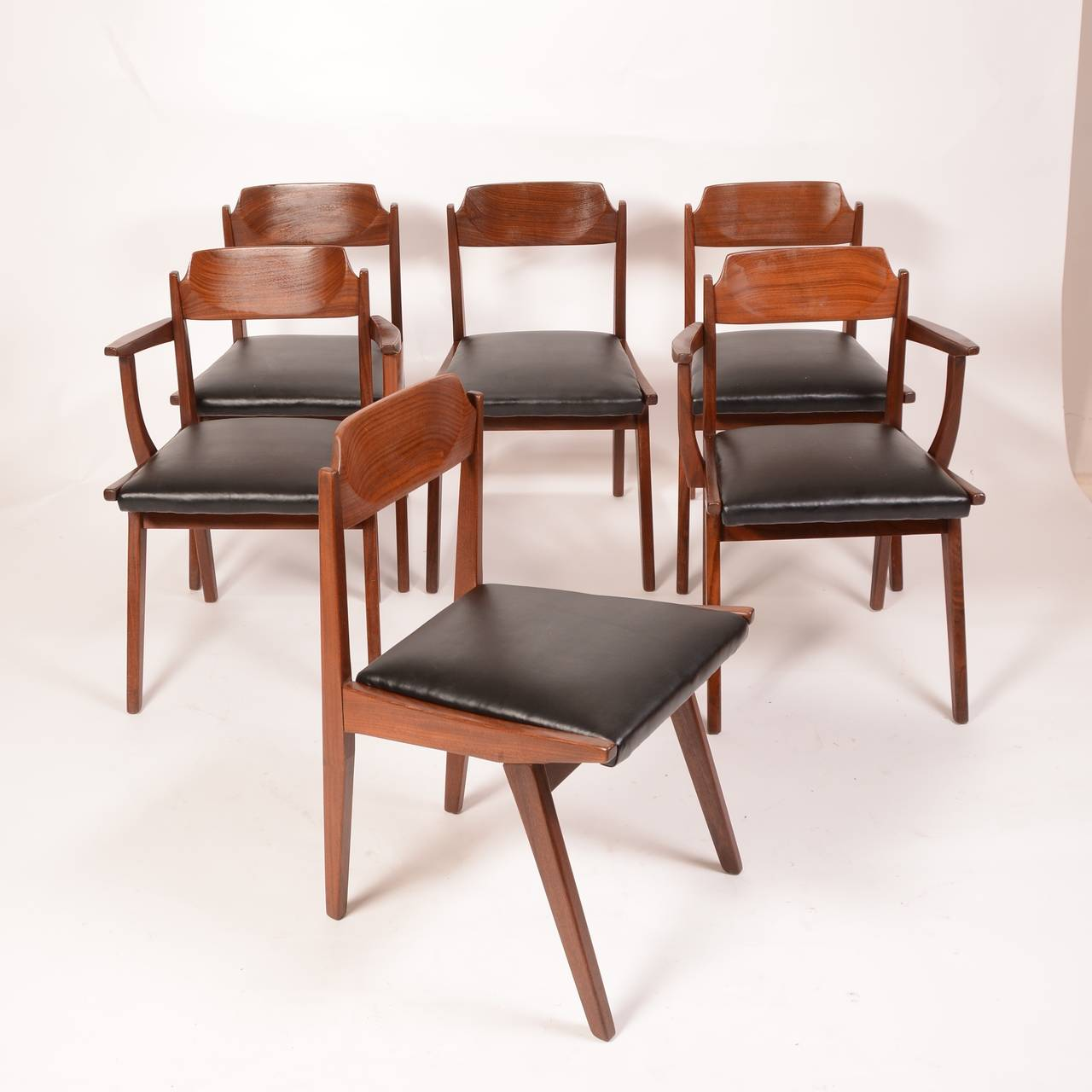 Six Jan Kuypers For Imperial Mid Century Walnut Dining Chairs For