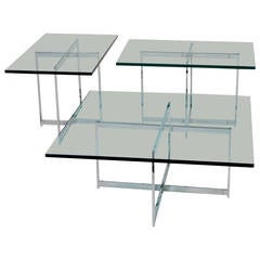 Mies van der Rohe Style Stainless Steel Glass Table Set