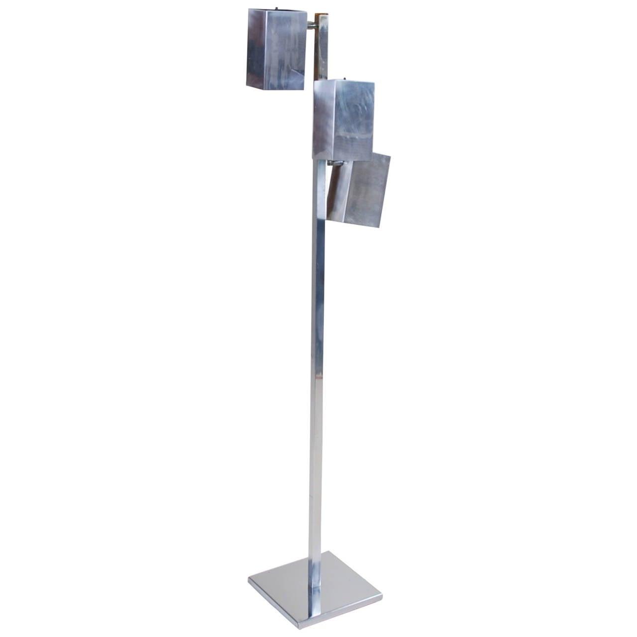 Koch & Lowy Chrome Adjustable Cubist Floor Lamp
