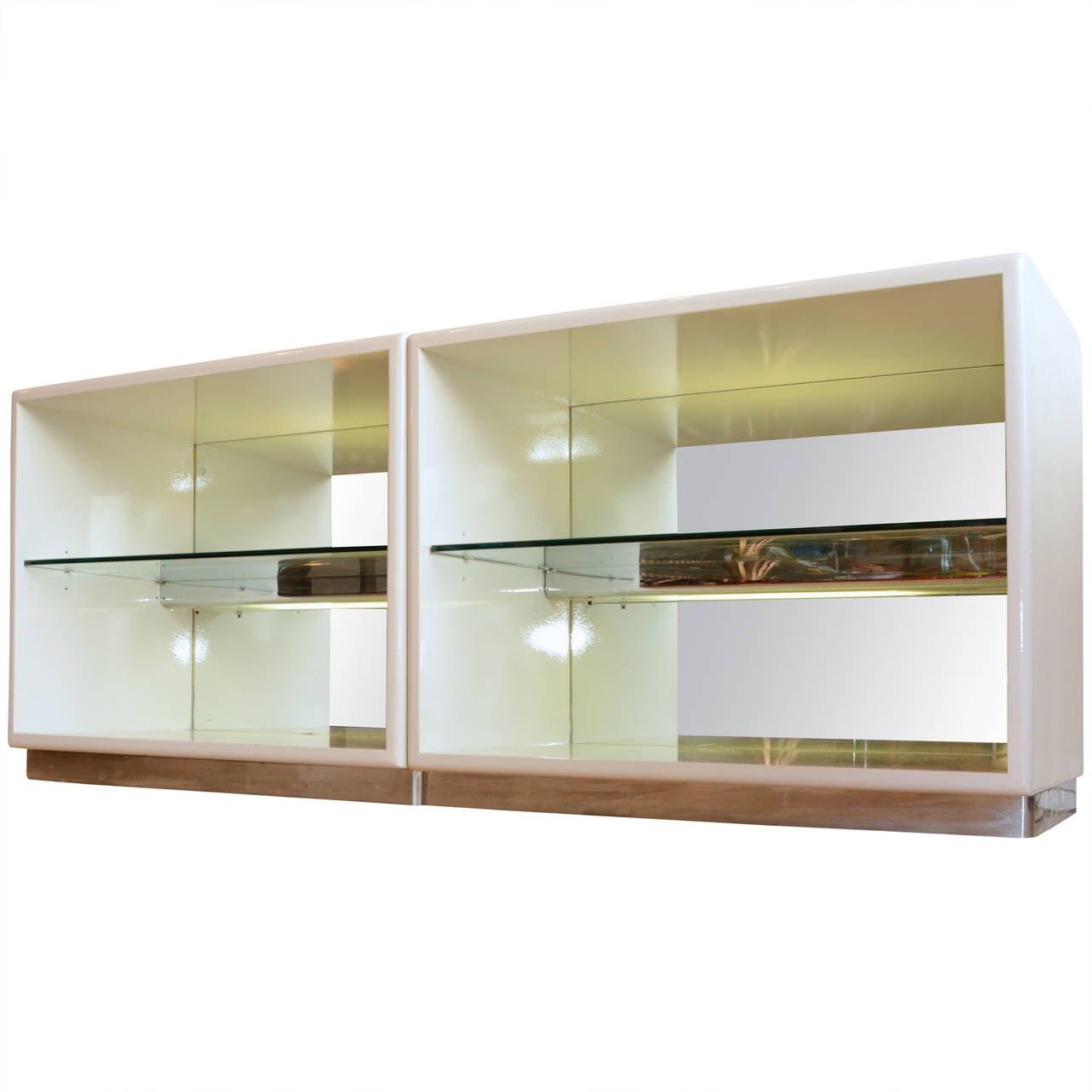 Mirrored Milo Baughman for Thayer Coggin White Lacquer Cabinets at ...