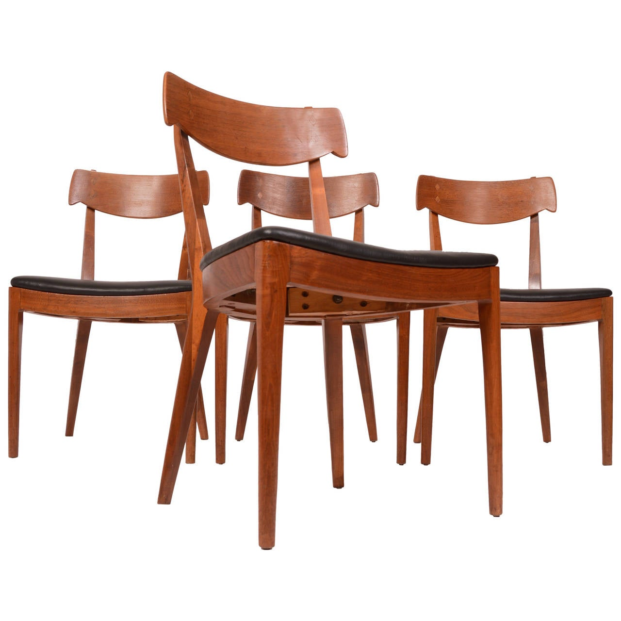 kipp stewart for drexel walnut and rosewood dining chairs at 1stdibs