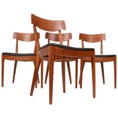 Set of Four Kipp Stewart for Drexel Walnut and Rosewood Dining Chairs