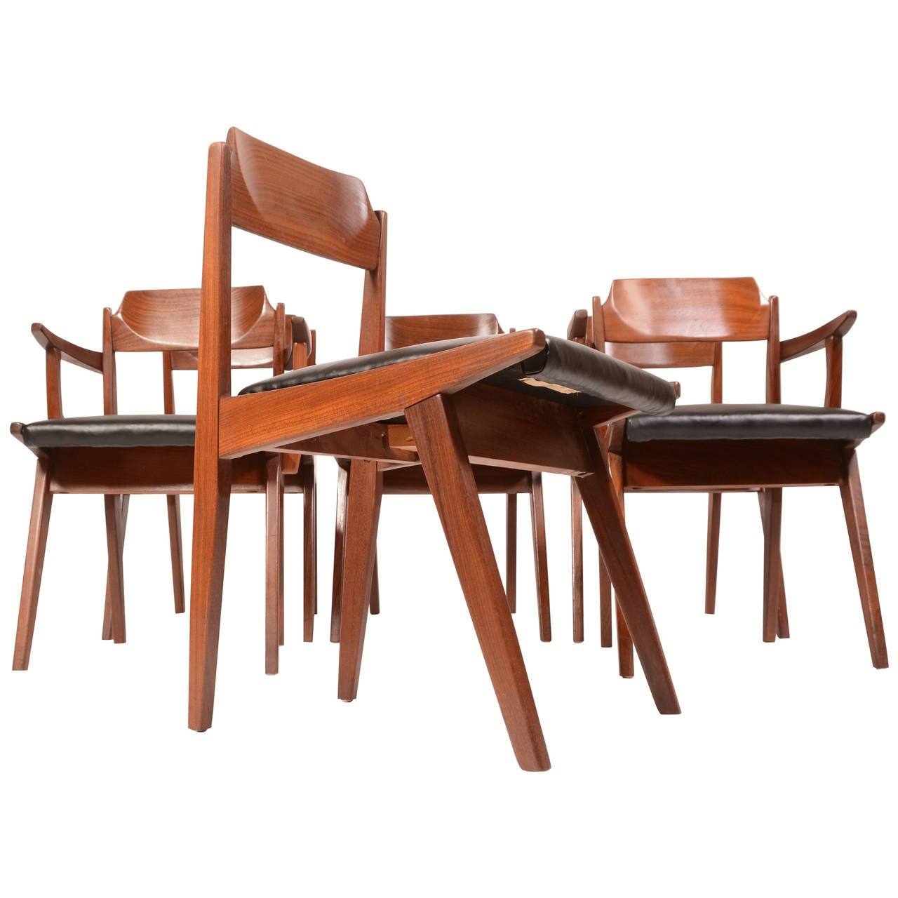 Six Jan Kuypers For Imperial Mid Century Walnut Dining Chairs Sale