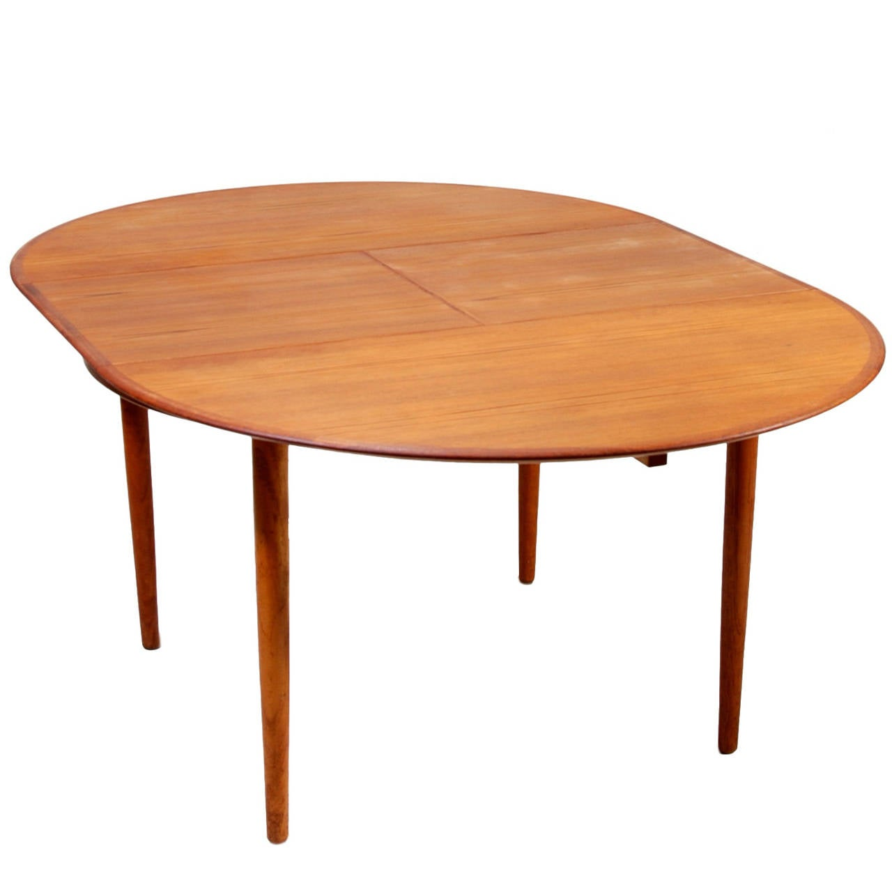 Round danish modern teak dining table by dyrlund at 1stdibs for Innovative table