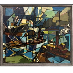 """Baltimore Harbor Activity"" Painting by Bennard Perlman, 1953"
