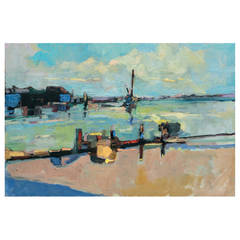 """Dockside,"" Oil on Canvas by David Lazarus"