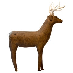 Carved and Painted Primitive Deer