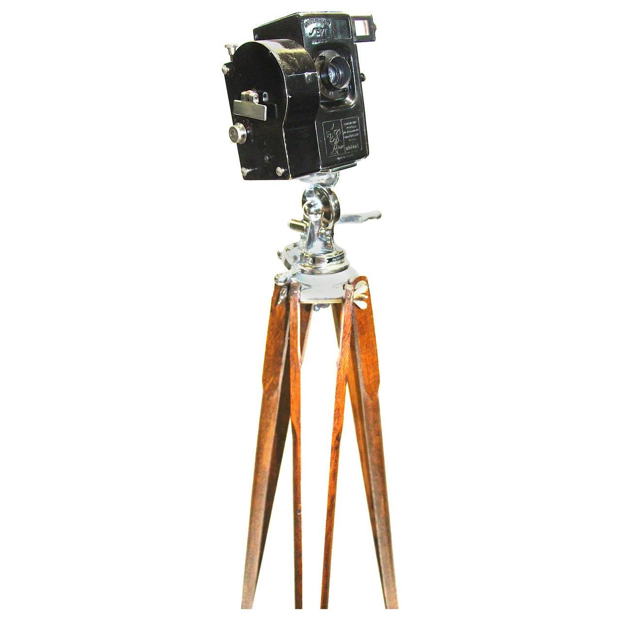 Andre Debrie, Circa 1923 Sept Model 35mm Cinema Camera on Tripod. As Sculpture.