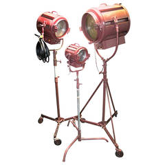Authentic Hollywood Motion Picture Studio Vintage Spotlights, Array on Stands