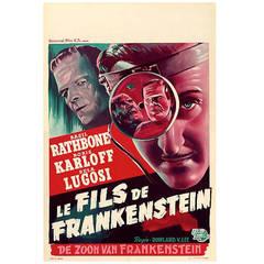 """Son of Frankenstein"" Movie Poster Astounding Condition 1950s Rerelease"