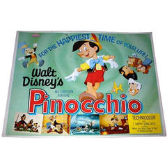 """""""Pinocchio"""" Movie Poster, 1940, Vibrant, Spectac, Very Good Condition"""