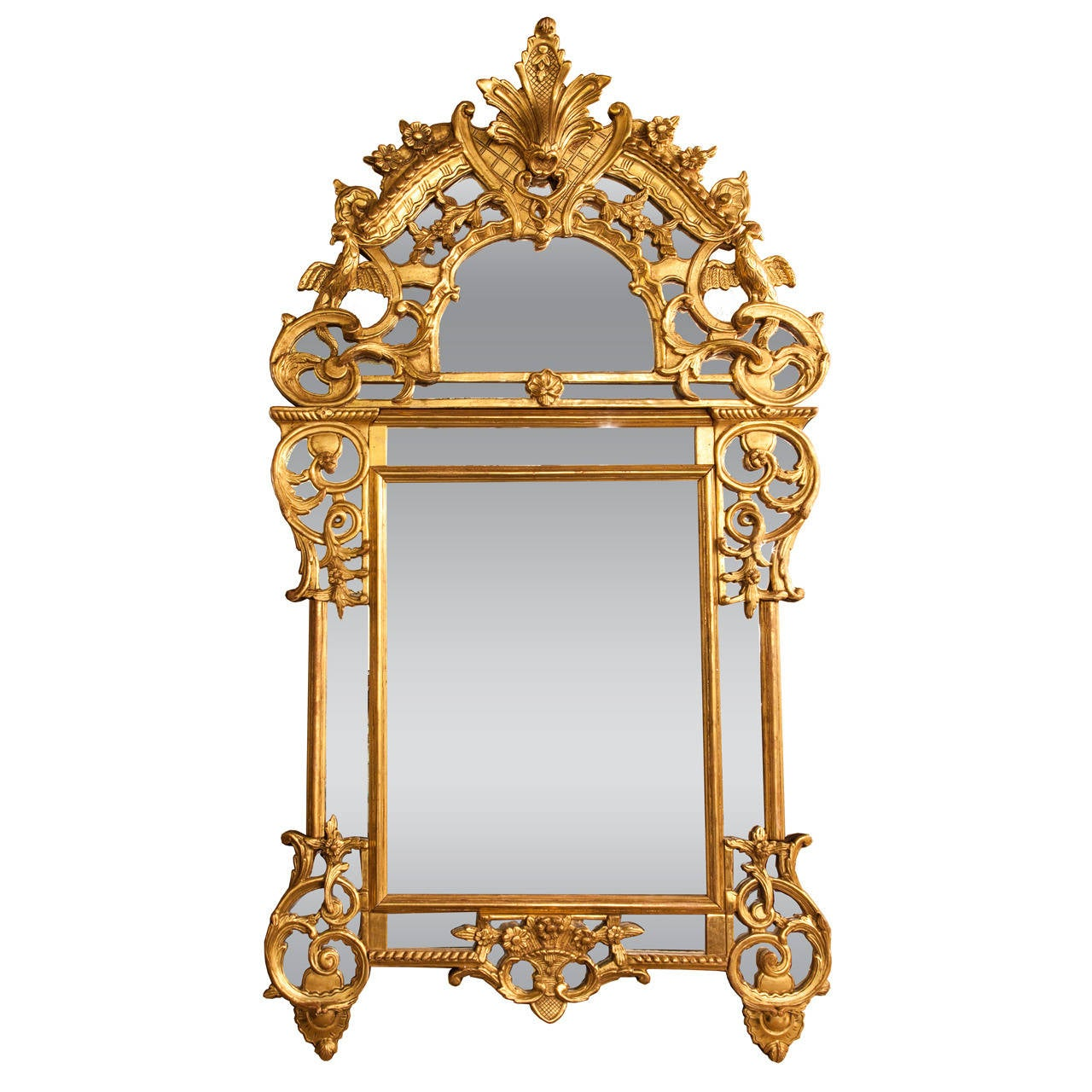 French 19th c chinese chippendale style giltwood mirror for Asian style mirror