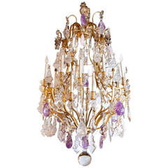 Large French Bronze Dore and Crystal Chandelier Palace size with rock crystal