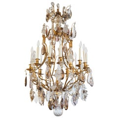 French bronze Dore and Crystal Chandelier with smokey rock,amythyst crystal