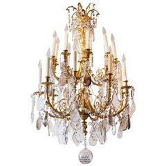 French Gilt Bronze Chandelier with rock and smoke Crystals
