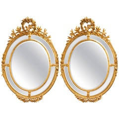 Pair of  oval French 19th c  Antique Giltwood Mirrors