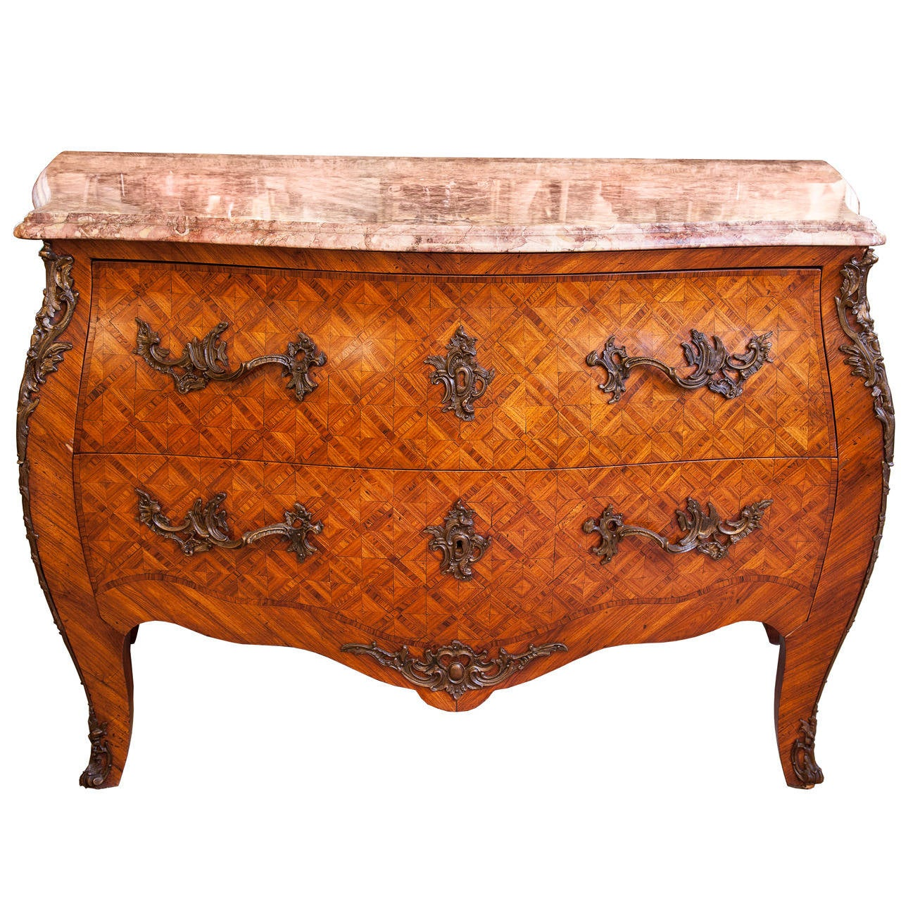 French Commode, 20th c. bombe chest with bronze ormolu mounts