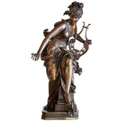 Bronze 19th c. Statue of a Muse with Musical Instrument by A.Carrier Belleuse