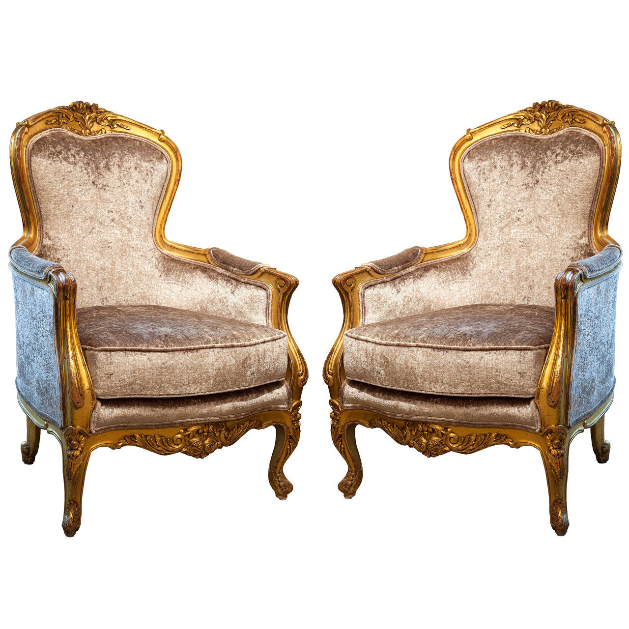 Antique french th c gilt wood bergere chairs for sale at