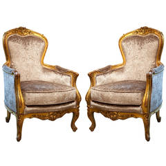 Antique  French  19th c gilt wood Bergere Chairs