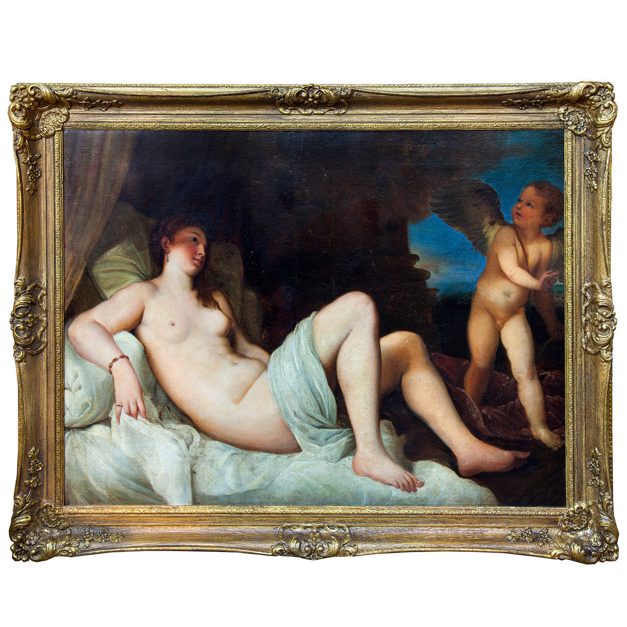 Venus with Angel, Oil on Canvas after Titian