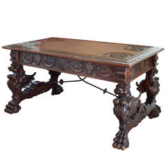 Spanish Desk, 19th c. Well carved with Griffins