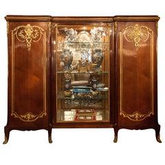 French 19th c biblioteca Vitrine  Display Cabinet, Louis XV style , bronze dore