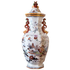 English Mason  ironstone Urn with chinoiserie painted design