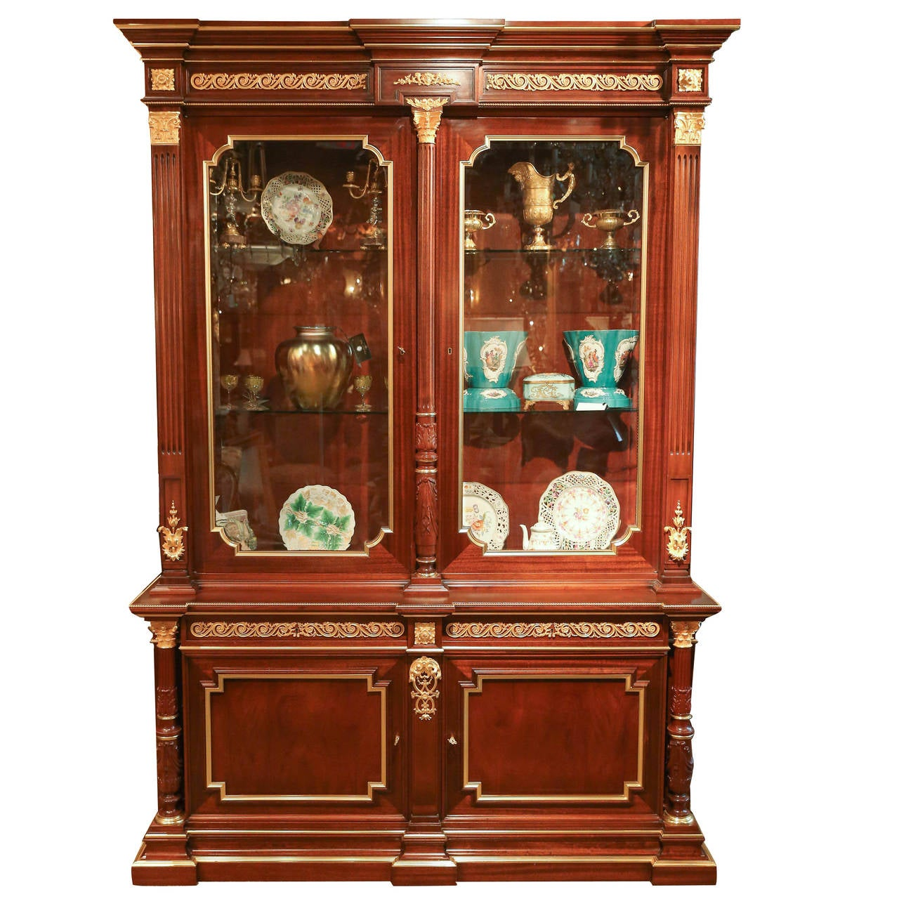 Louis XVI Style Gilt Bronze Mounted Mahogany Vitrine display Cabinet