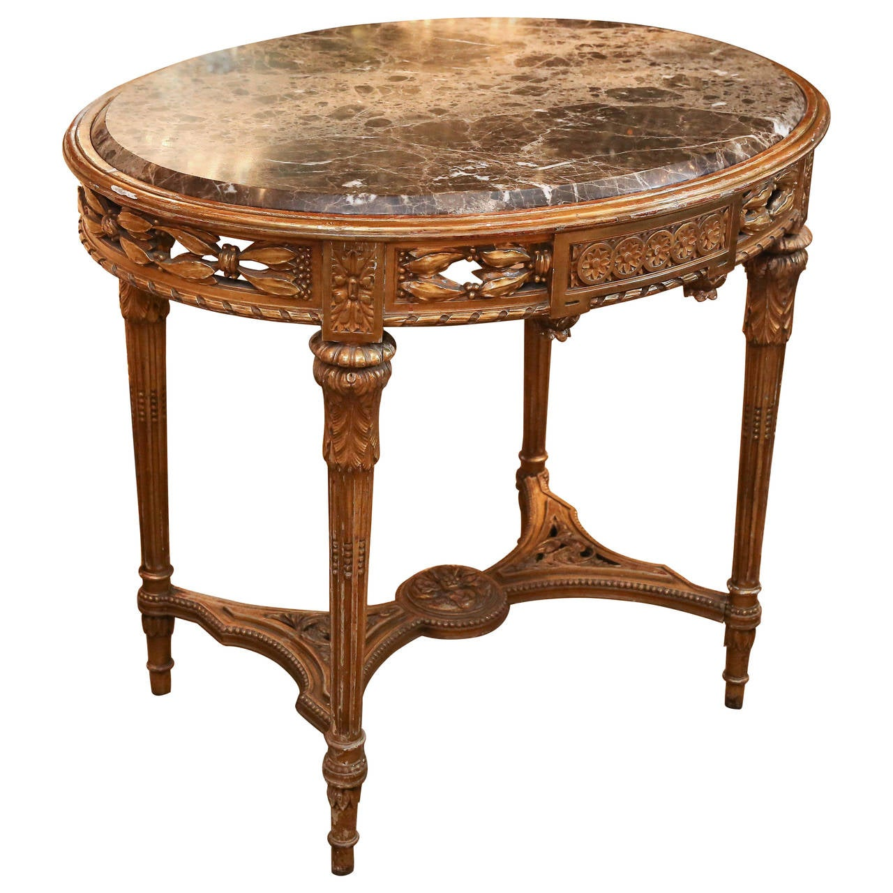 oval giltwood french table in the louis xvi style at 1stdibs. Black Bedroom Furniture Sets. Home Design Ideas